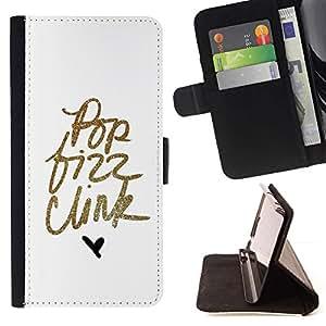 For Sony Xperia Style T3 Case , Pop texto del brillo del oro minimalista Hear Blanca- la tarjeta de Crédito Slots PU Funda de cuero Monedero caso cubierta de piel