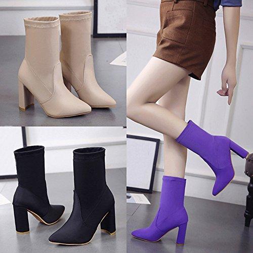 Tacones Cortos Cortas de Zapatos 39 de Negro Tubo de MYQyiyi Botas Mujer Moda por gqExB1fwE