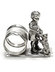 Napkin Ring Figural By Meriden Silverplate Boy Dog