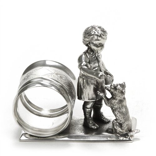 Meriden Napkin Ring, Figural by, Silverplate, Boy & Dog