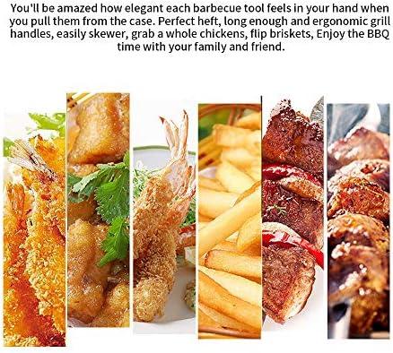 QianChen Lot de 4 ustensiles de cuisine en acier inoxydable de qualité professionnelle pour barbecue Teppanyaki
