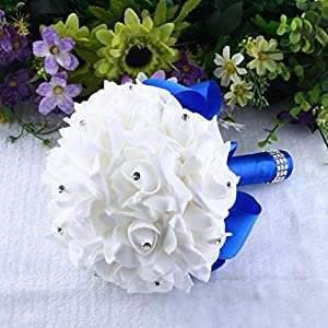Gotd Crystal Roses Pearl Bridesmaid Wedding Bouquet Bridal Artificial Silk Flowers (Blue) 3