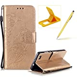 Strap Case for Huawei P8 Lite,Wallet Leather Cover for Huawei P8 Lite,Herzzer Classic Elegant [Gold Butterfly Pattern] PU Leather Fold Stand Card Holders Smart Phone Case for Huawei P8 Lite + 1 x Free Yellow Cellphone Kickstand + 1 x Free Yellow Stylus Pen