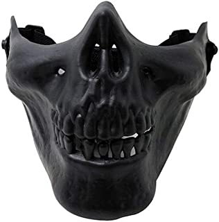 ZOUQILAI Skull Skeleton Face Mask Half Face Protect Gear Mask Cosplay Party Halloween Half Face Protection Horror Mask Black