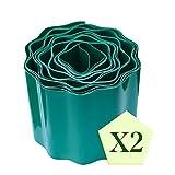 PHYEX 2-Pack Garden Lawn Grass Edging - 6 Inches x 32 Feet, Dark Green