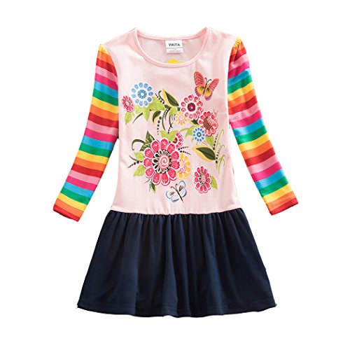VIKITA Girls Cotton Flower Long Sleeve Casual Dress H5803PINK 7-8 Years