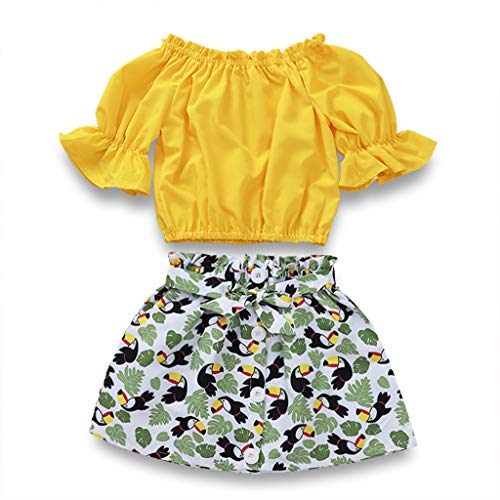 Toddler Baby Girl Ruffled Swallow Outfits Flare Sleeve T-Shirt Tops+Floral Skirts with Bow Kids Outfit Clothes Set (Swallow, 6-7 Years) ()