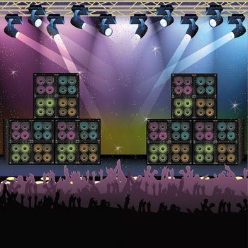 [Fun Express Rock Star Vacation Bible School & Party Backdrop Banner] (Music Party Decorations)
