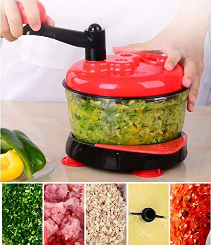 Momugs 8 Cup Red Food Processor, Manual Hand-Powered Crank Large Chopper Mincer Blender Mixer Cutter with Transparent Container for Baby Kids Toddler to Chop Meat Fruits Vegetables Onions Garlics by Momugs (Image #4)