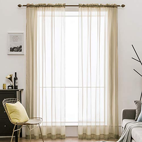 MIULEE 2 Panels Solid Color Sheer Window Curtains Elegant Window Voile Panels/Drapes/Treatment for Bedroom Living Room (54X108 Inches Beige)