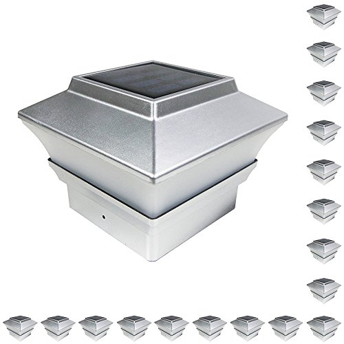 iGlow 18 Pack Silver Outdoor Garden 4 x 4 Solar LED Post ...