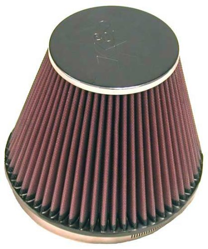 K&N RC-5138 Universal Clamp-On Air Filter: Round Tapered; 6 in (152 mm) Flange ID; 5 in (127 mm) Height; 7.5 in (191 mm) Base; 4.5 in (114 mm) Top