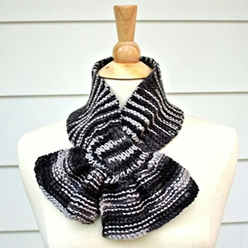 Amazon Heather Gray Knit Keyhole Scarf Handmade