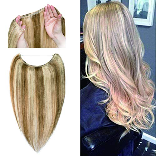 Invisible Wire Hair Extensions Human Hair Hidden String Crown Hair Extensions No Clips in Secret Hairpieces with Miracle Transparent Fish Line For Women #12P613 Golden Brown&Bleach Blonde 16 inches 60g