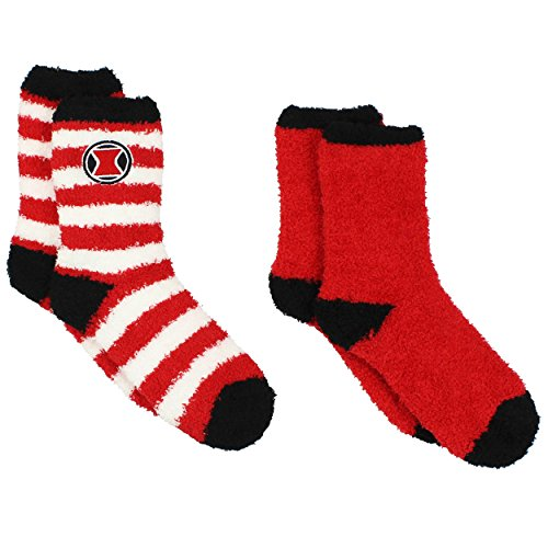 Black Widow Womens 2 pack Cozy Socks (9-11 (Shoe: 4-10), Black Widow Red)