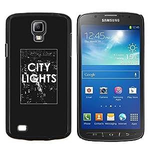 KLONGSHOP // Cubierta de piel con cierre a presión Shell trasero duro de goma Protección Caso - texto luces de la ciudad el cartel blanco negro NYC - Samsung Galaxy S4 Active i9295 //