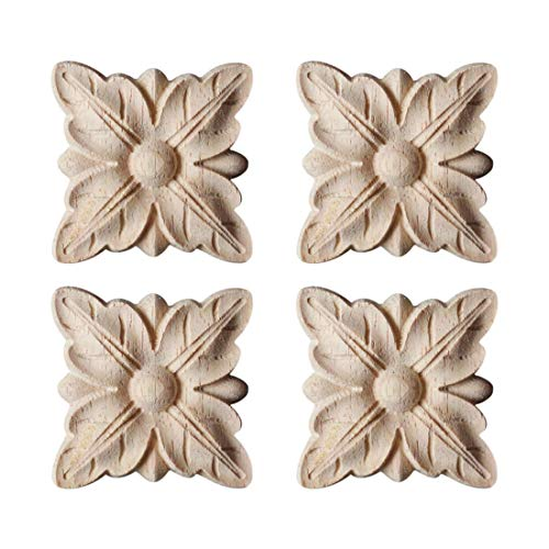 Accents Carved Wood - Enerhu 4 Pack Wood Carved Applique Onlay Square Carving Decal Leaf Pattern Unpainted Door Cabinet Furniture Decoration 1.97x1.97inch #9