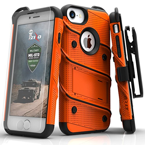 (Zizo iPhone 8 Case/iPhone 7 Case [Bolt Series] w/ [iPhone 8 Screen Protector ] Kickstand [12 ft. Military Grade Drop Tested] Holster Belt Clip)