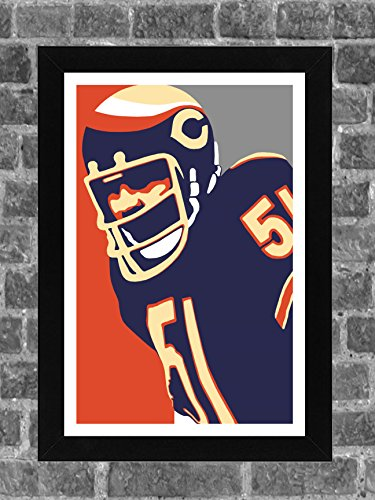 Chicago Bears Dick Butkus Portrait Sports Print Art (Chicago Bears Wrapping Paper)