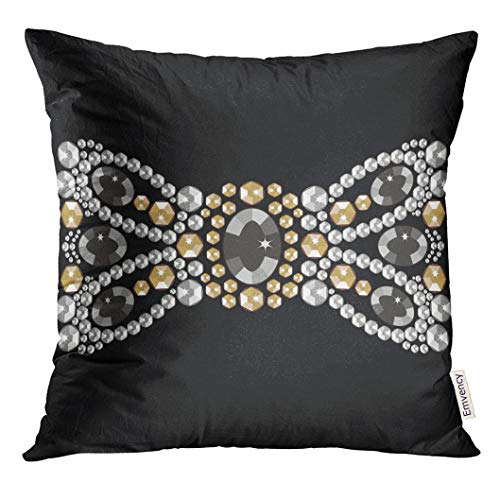 Golee Throw Pillow Cover Female Bow from Brilliant Stones Vintage Decorated Gold and Silver Medallion Rhinestone Beauty Jewelry Decorative Pillow Case Home Decor Square 20x20 Inches - 20 Crystal Gold Jubilee