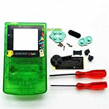 Gametown New Full Housing Shell Case Cover Pack with Screwdriver for Nintendo Game boy Color GBC Repair Part-Clear Green Pikachu