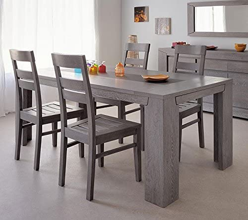 Dining Table And 4 Chairs Set Dining Room Grey Oak 5 Piece Dining Table Dining Room Heros 1 Amazon De Kuche Haushalt