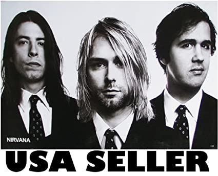 Nirvana Well Dressed Black White Poster Kurt Cobain Dave Grohl Bw Sent FROM