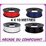 40M FILS ABS 1.75 MM POUR IMPRIMANTE 3D OU STYLO 3D - ASSORTIMENT DE 4 COULEURS - N - BLC - R - BL