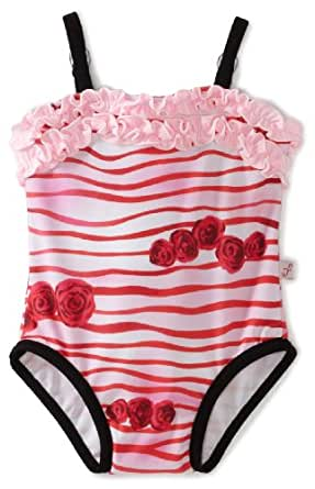 Floatimini Baby Girls' Rose Print Simple Swimwear, Red, 18 24 Months