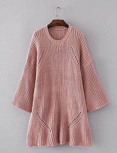 size blushing pink Otoño one Mujer Algodón Diario pink Larga Otro Pullover BaiChunYunYi Manga Barco Microelástico Color Simple Primavera blushing Casual Largo Noche Un Cuello Medio Fino g4BwRq