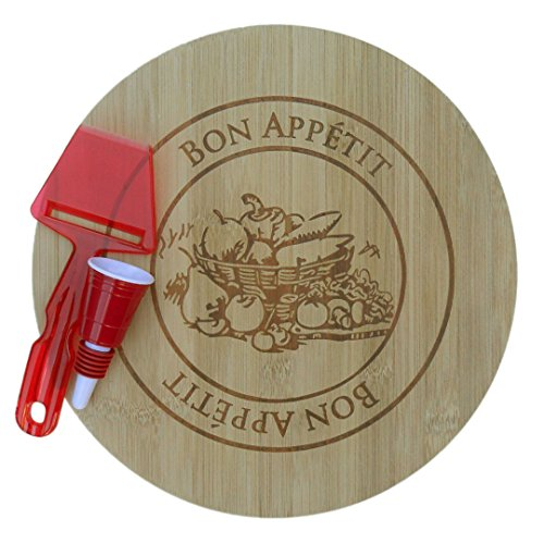 - Best Round Bamboo Cheese Plate Cutting Board Plane Wine Stopper Lover Accessory Sweet Cute Special Valentine Day Item Set Under 30 Dollars for Sale Unique Him Her Husband Parent Married Couple