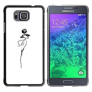 TopCaseStore / la caja del caucho duro de la cubierta de protección de la piel - Abstract Lady Woman Dancer Squiggle White - Samsung GALAXY ALPHA G850