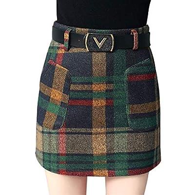 Wincolor Women's Woolen A-line Plaid Checked Mini Tartan Skirt High Waisted Short Straight Skirts