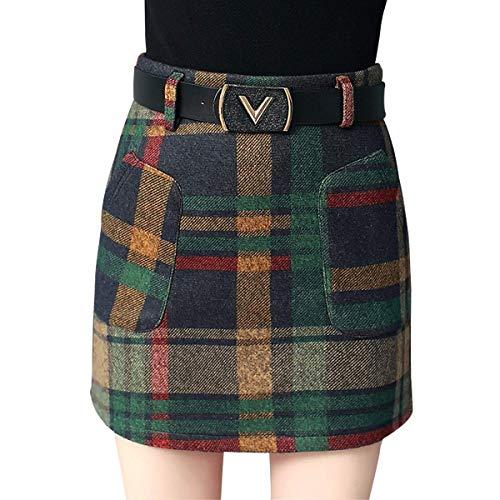 (Wincolor Women's Woolen A-line Plaid Checked Mini Tartan Skirt High Waisted Short Straight Skirts Green)