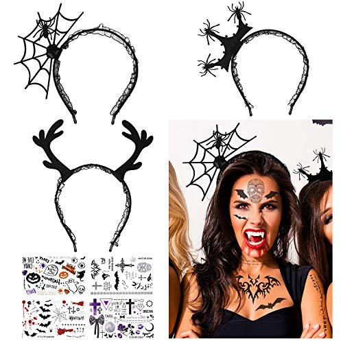 Spider Woman Halloween Make Up (3 Pcs Halloween Spider Headbands for Women, Halloween Costume Headband with 4 Bonus Halloween Tattoos for Theme and Halloween Party Hair Accessories for)
