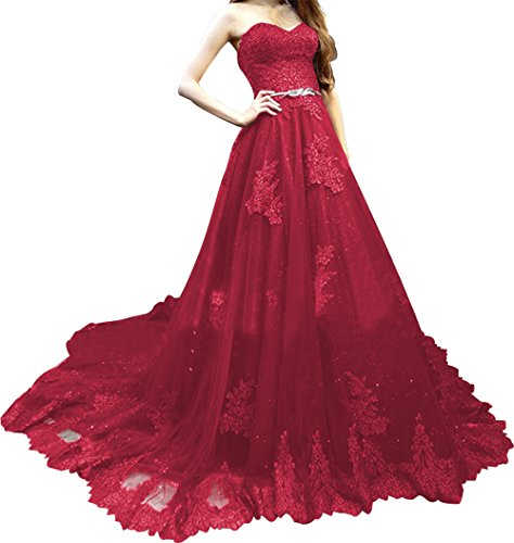 Red Ball A Prom Annies Tulle line Dress Lace Wine Formal Bridal Gown Strapless Womens qtwpp4FO