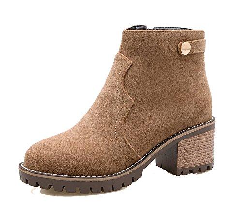 Donna EuX68 Brun Chiusa Tacco Shoes Alto Adulto Stivaletti Cerniera AgeeMi Tonda con Punta 5wPTPRq