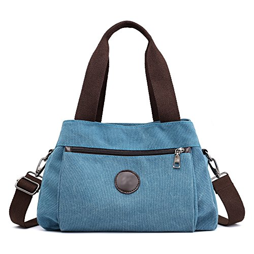 Hiigoo Women's Casual Totes Bag Shoulder Bag Canvas Handbags 3-open Crossbody Bag Messenger Bag (Blue)