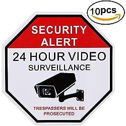 Home Business Security Burglar Alarm DVR CCTV Camera Video Surveillance System Window Door Warning Alert Sticker Decals-10PACK (24 hours cctv)
