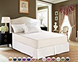AmHoo Bedding Pleated Bed Skirt with 14 inch Drop 100% Cotton Bed Skirts Wrinkle and Fade Resistant(White, Twin)