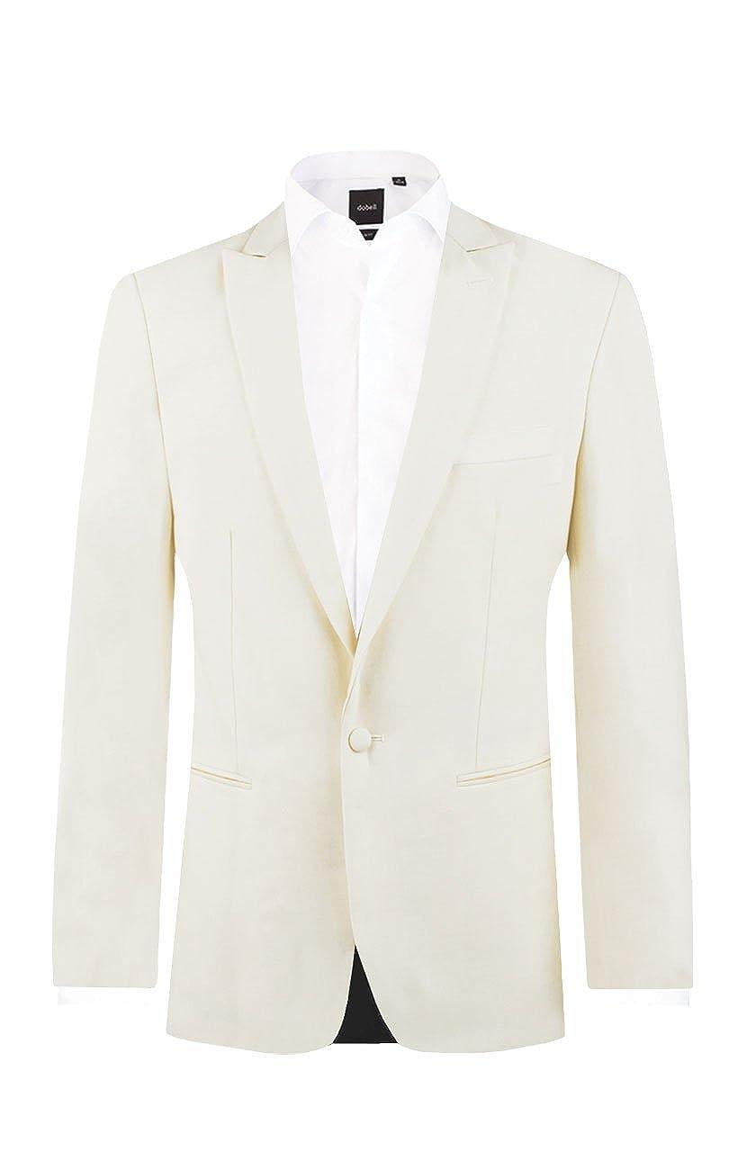 Dobell Mens White Tuxedo Dinner Jacket Slim Fit Peak Lapel