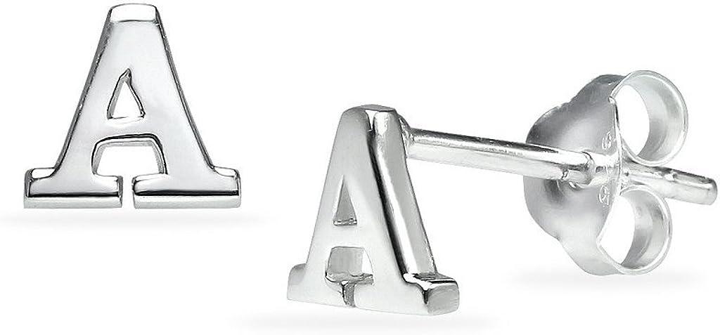 Silverline Jewelry 925 Sterling Silver Alphabet Letter Initial Dainty Stud Fashion Earrings for Women Men & Teens