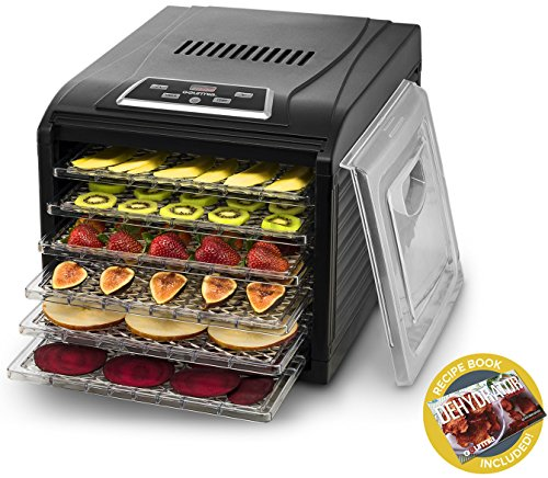 Gourmia GFD1650 Premium Electric Food Dehydrator Machine - Digital Timer and Temperature Control - 6 Drying Trays -Perfect for Beef Jerky, Herbs, Fruit Leather -BPA Free -480W - Black - Bonus Cookbook