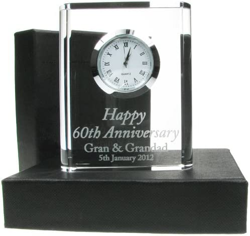 60th Wedding Anniversary Gift Engraved 60th Wedding Anniversary Crystal Clock 60th Wedding Anniversary Gifts Diamond Wedding Anniversary Gifts Amazon Co Uk Kitchen Home