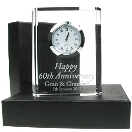 60th Wedding Anniversary Gift, Engraved 60th Wedding Anniversary Crystal Clock, 60th Wedding Anniversary Gifts, Diamond Wedding Anniversary Gifts: ...