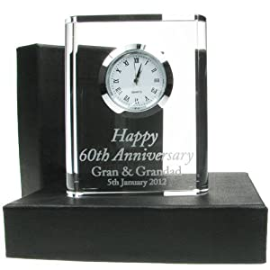 60th Wedding Anniversary Gift Engraved Crystal Clock Gifts Diamond
