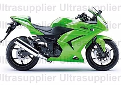 FocusAtOne Green Complete Fairing Bodywork Painted ABS Plastic Injection Molding Kit for 2008-2012 Kawasaki Ninja 250R EX250 2009 2010 2011
