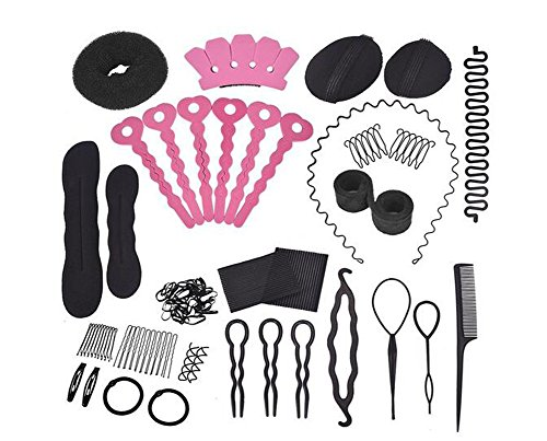 Set of 20 Donut Bun Maker Fashion Hair Design Styling Accessory Maker Pads Hairpins Hairabands Clips Donut Maker Hair Braiding Tool Kit for Ladies Girls DIY Magic Hair Twist Styling Set