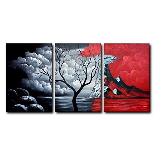 FLY SPRAY 3 Panels Hand Painted Oil Paintings On Canvas Ready To Hang Plants Trees Mountain Red White Black Modern Abstract Art Stretched Framed Wall Art Living Room Bedroom Dining Room Office