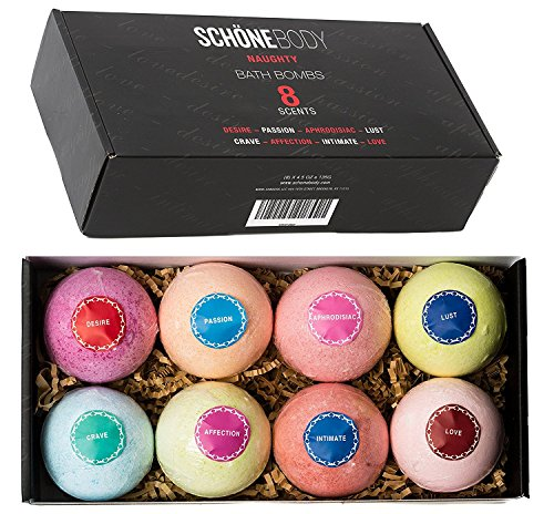 Price comparison product image Schöne NAUGHTY Romantic Large Bath Bombs Gift Set - 8 - A Must for Any Romantic Bath, Flirt with Your Senses, Go to a Place of Passion and wild Desire, Softer Skin, Multilayered Color and Scent